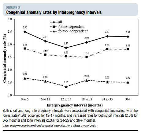 임신 사이 기간 및 엽산 농도에 따른 선천성기형 발생 위험 추이를 보여주는 그래프입니다. 순수하게 임신터울이 아기 건강에 미치는 내용만 관찰하자면, 세모형태의 선을 확인하시면 됩니다. 어떤 기준으로건 발생위험이 낮아지는 기간은 12~17개월 사이임을 확인할 수 있습니다.